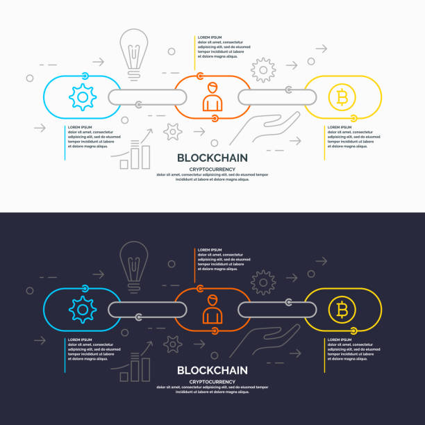 stockillustraties, clipart, cartoons en iconen met technologie van de blockchain en cryptocurrency - blockchain