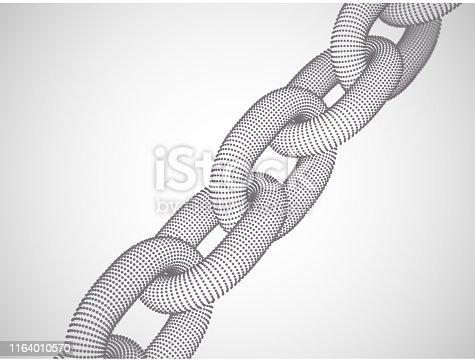 889994504istockphoto Blockchain technology and network connections: 3D digital chain. 1164010570