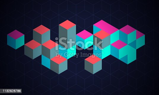 Abstract background with cubes symbolised blockchain and cryptocurrency technology.