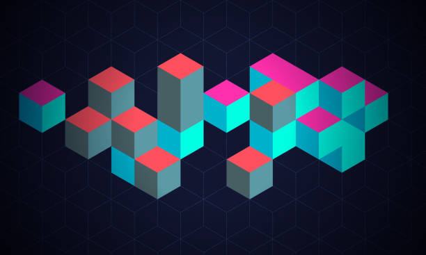 Blockchain Technology Background Abstract background with cubes symbolised blockchain and cryptocurrency technology. cube shape stock illustrations