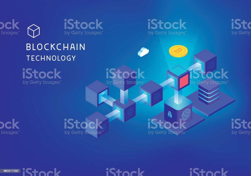 Blockchain technology concept vector art illustration