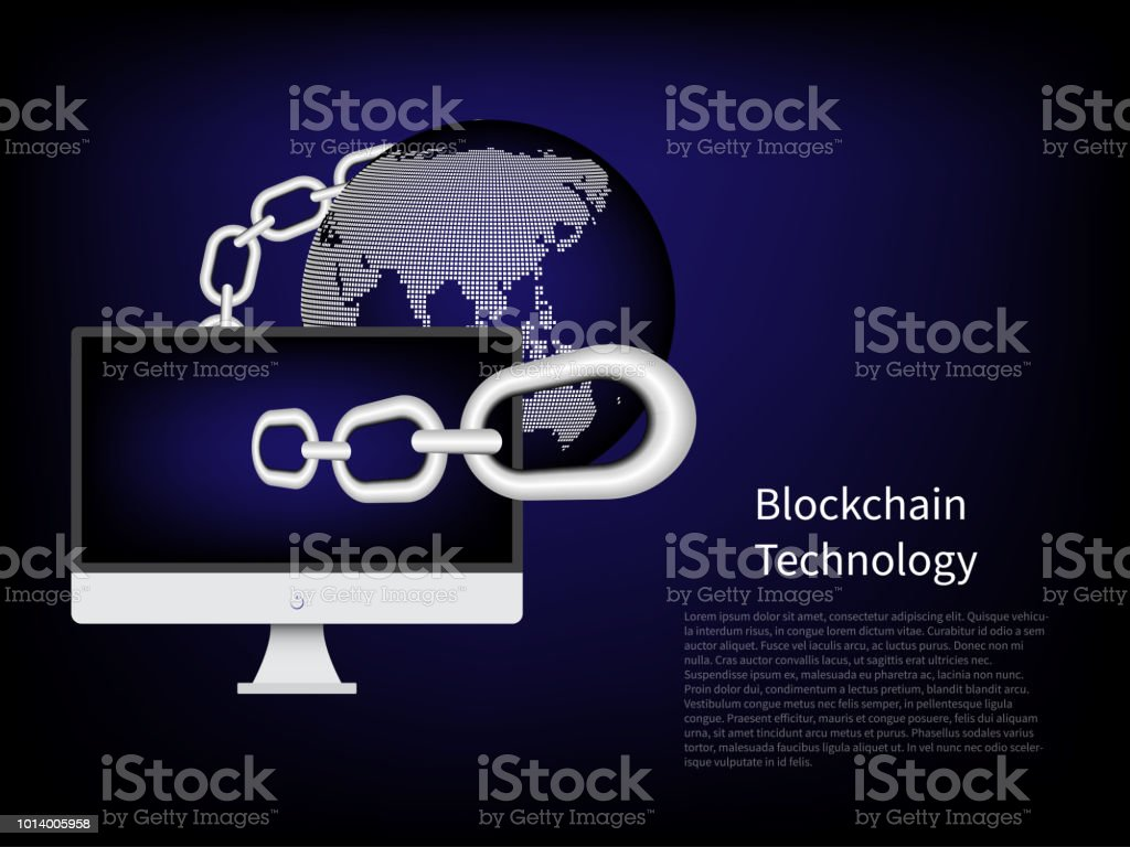 Blockchain Technology Connection Computer On Blue Background World