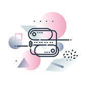Abstract illustration concept of blockchain technology,distributed databasestructure. Premium quality unique graphic design with modern line icon symbol and colored geometric shapes on background.