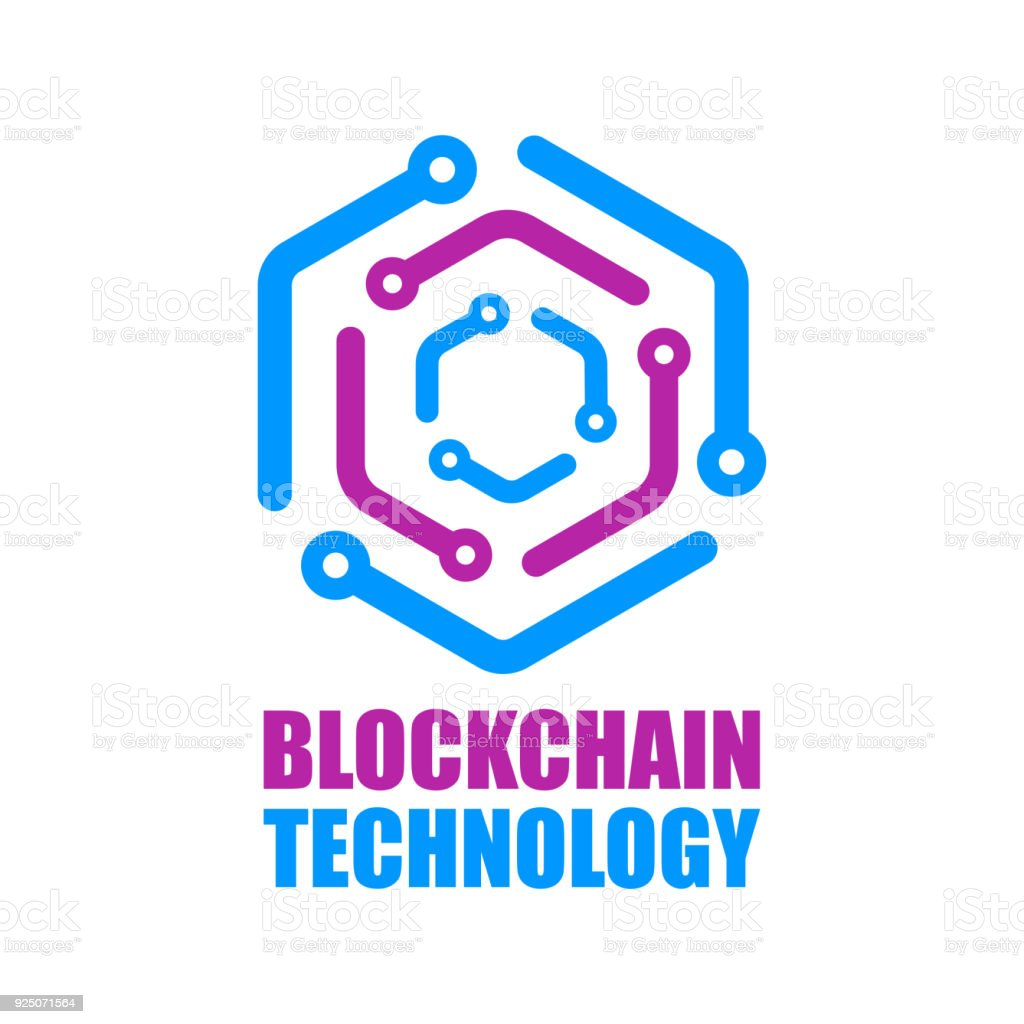 Blockchain technology icon. Vector smart contract block symbol. Decentralized transactions logo design. Crypto currencies network logotype vector art illustration