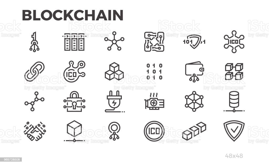 Blockchain technology icons. Cryptography, crypto currency and other symbols. Editable line. vector art illustration