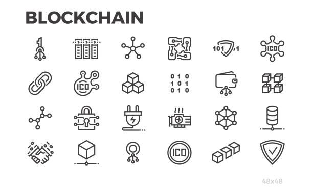 stockillustraties, clipart, cartoons en iconen met de pictogrammen van de technologie van de blockchain. cryptografie, crypto valuta en andere symbolen. bewerkbare lijn. - blockchain