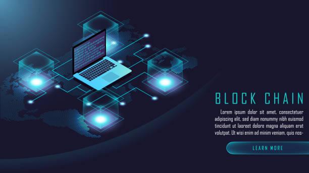 Blockchain-Technologie isometrische Zusammensetzung – Vektorgrafik