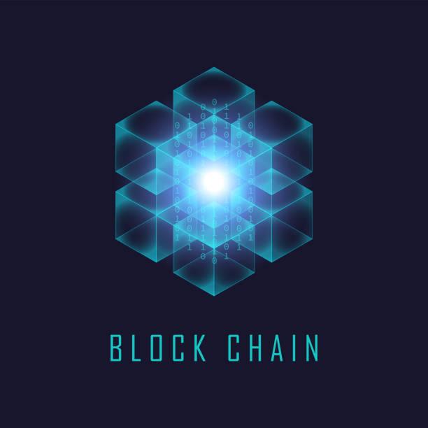 Blockchain-Technologie isometrisch virtuell – Vektorgrafik