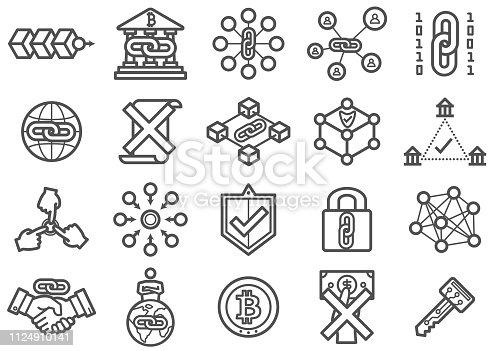 Blockchain Technology Line Icons Set