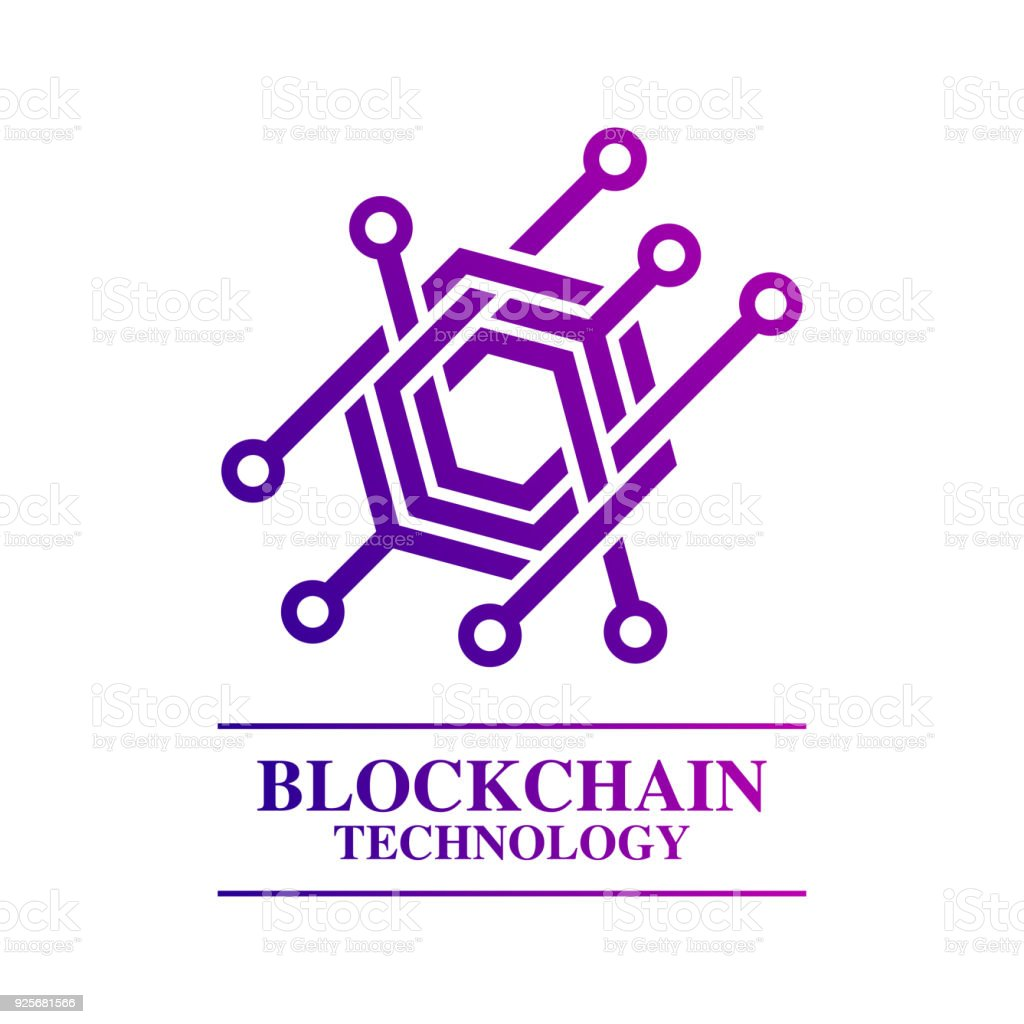 Blockchain technology template concept abstract geometric business sign vector art illustration