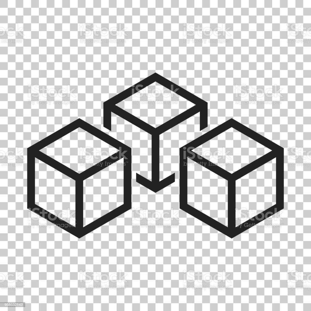 Blockchain technology vector icon in flat style. Cryptography cube block illustration on isolated transparent background. Blockchain algorithm concept. vector art illustration