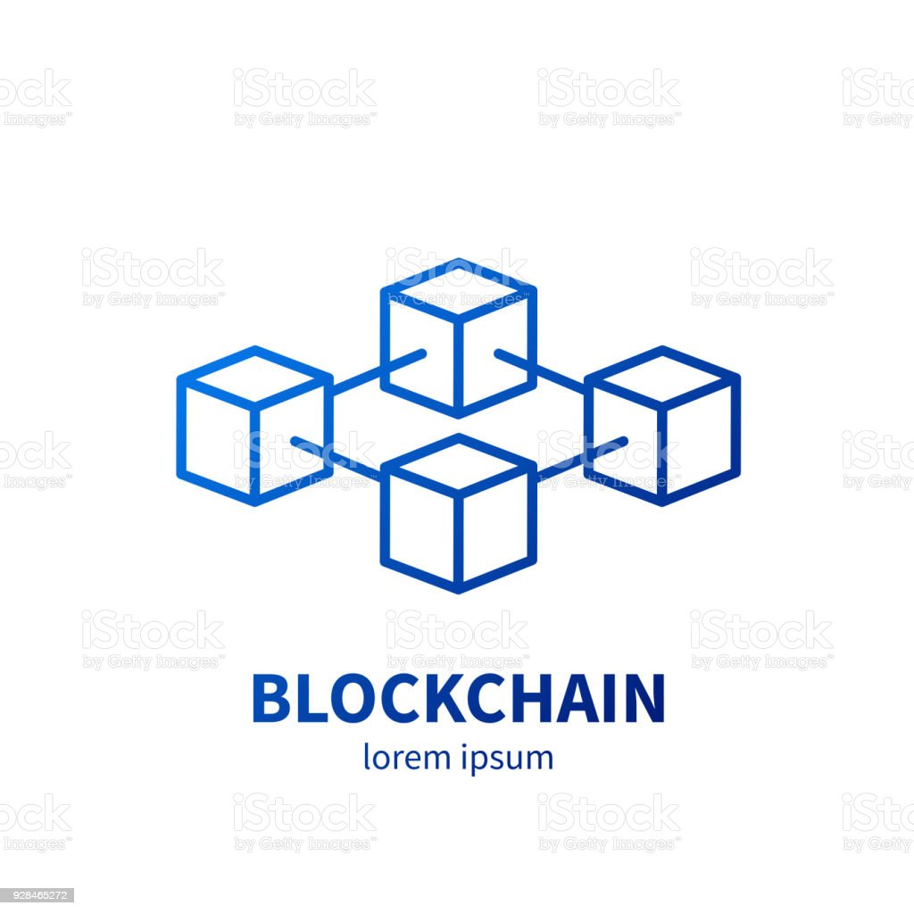 Blockchain technology vector illustration on a white background. vector art illustration