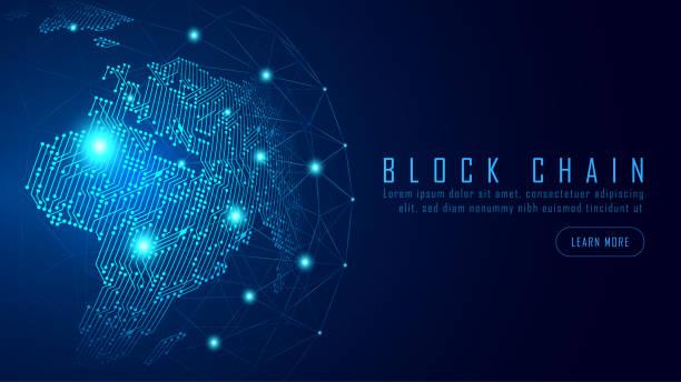 Blockchain-Technologie mit globalem Verbindungskonzept – Vektorgrafik