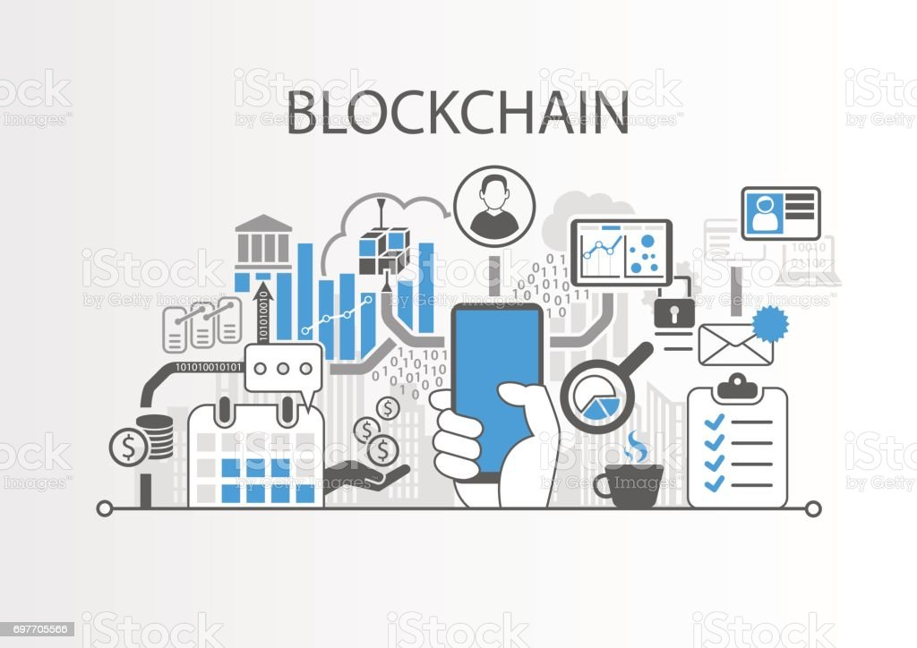Blockchain vector background illustration with hand holding smartphone and icons vector art illustration