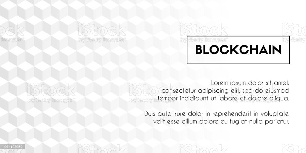 Blockchain. Vector geometrical abstract white cubes background template vector art illustration