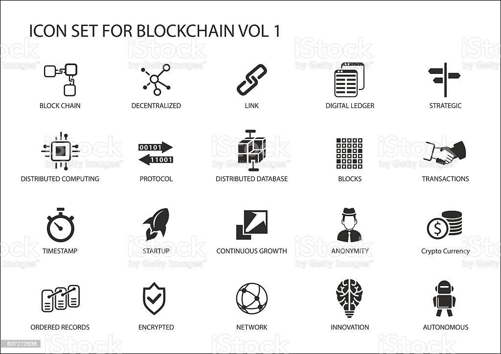 Blockchain vector icon set vector art illustration