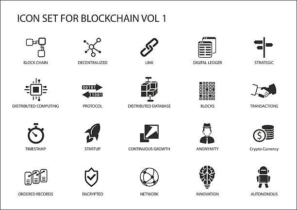 Blockchain Vector Icon Set Art Illustration