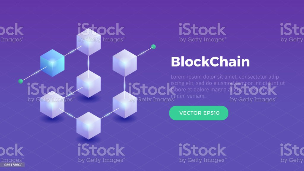 Blockchain vector art illustration