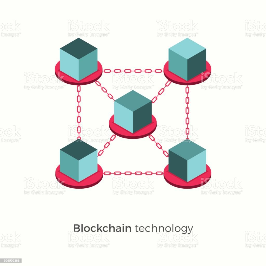 Blockchain vector illustration concept vector art illustration