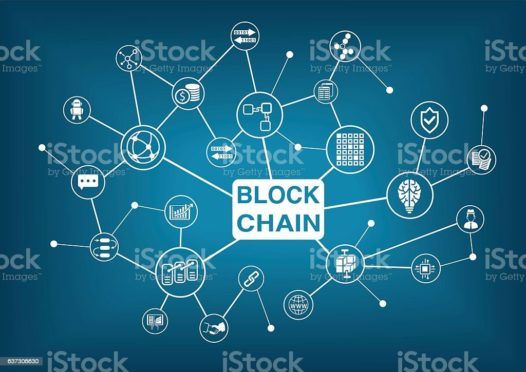 Blockchain word with icons as vector illustration vector art illustration