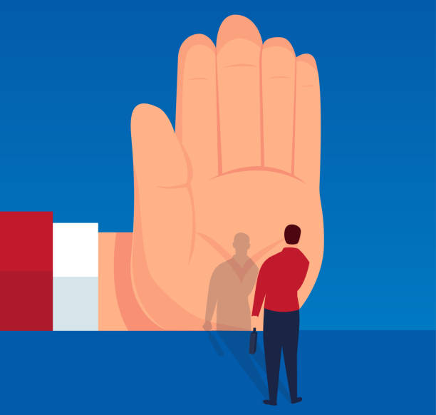 Blocked businessman Businessman stopped by huge palm rejection stock illustrations