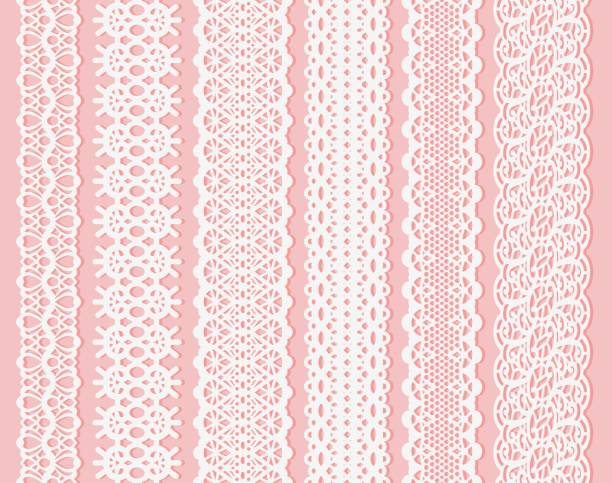 Blockprint wide lace ribbon set. White Design Elements Isolated on Pink Background Seamless pattern suitable for laser cutting paper or wood, to create wedding invitation and card Blockprint wide lace ribbon set. White Design Elements Isolated on Pink Background Seamless pattern suitable for laser cutting paper or wood, to create wedding invitation and card. Vector illustration decorative laser cut set stock illustrations