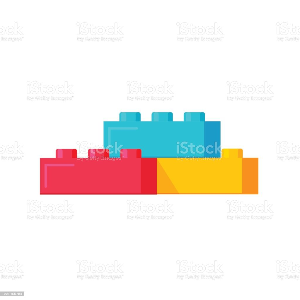 Blocks constructor toys vector illustration, flat cartoon plastic building blocks construction or bricks toy isolated vector art illustration