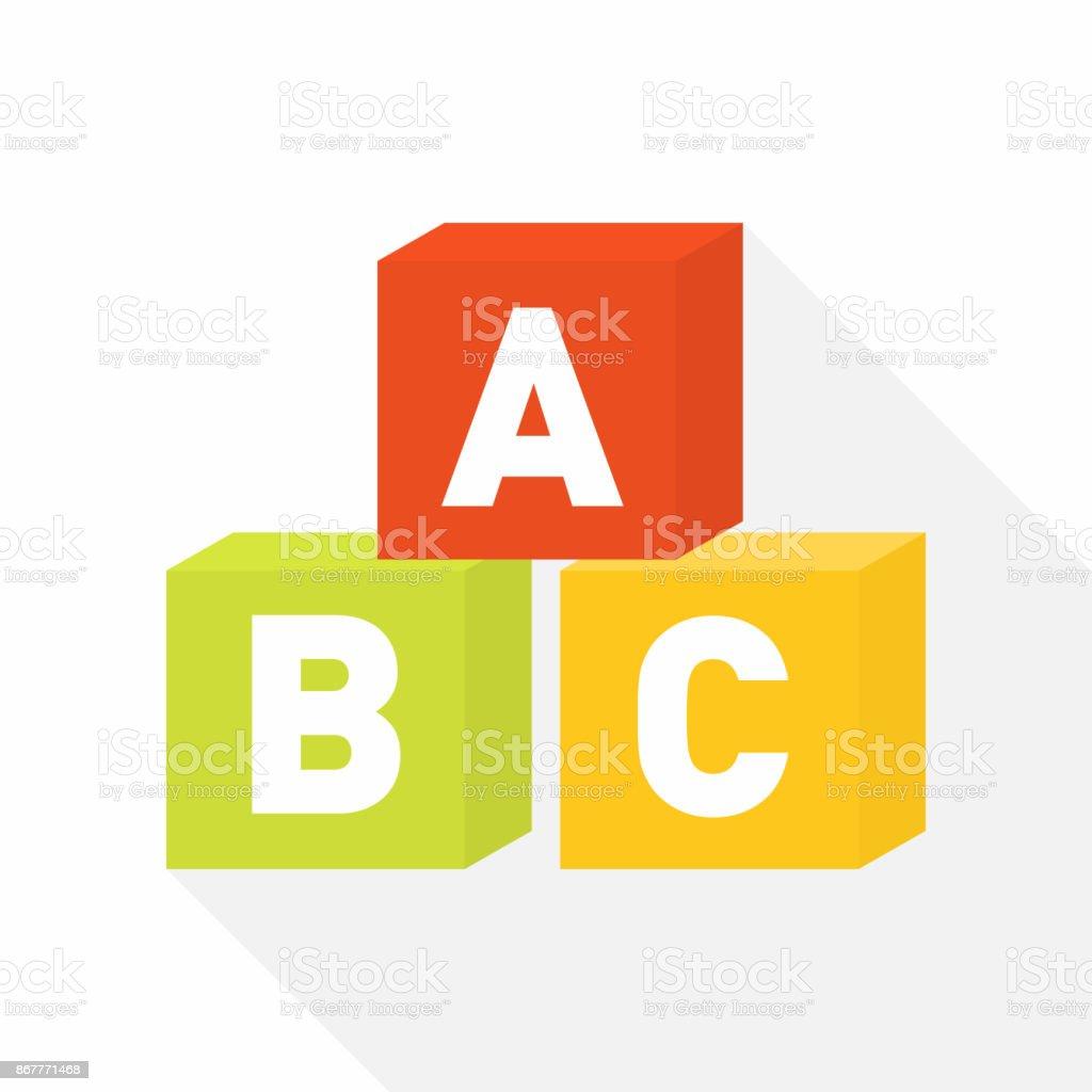 Icono plano de bloques de ABC para la educación - ilustración de arte vectorial