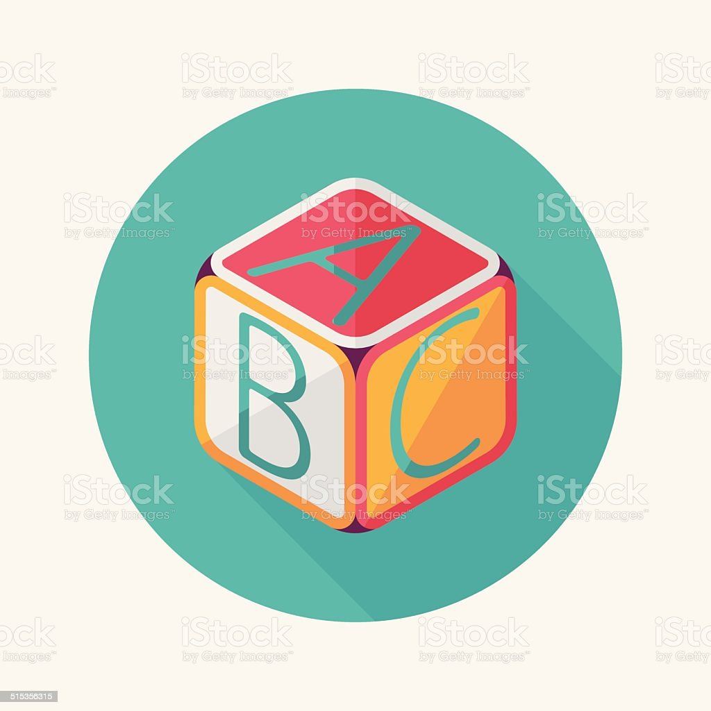 ABC blocks flat icon with long shadow,EPS 10 vector art illustration