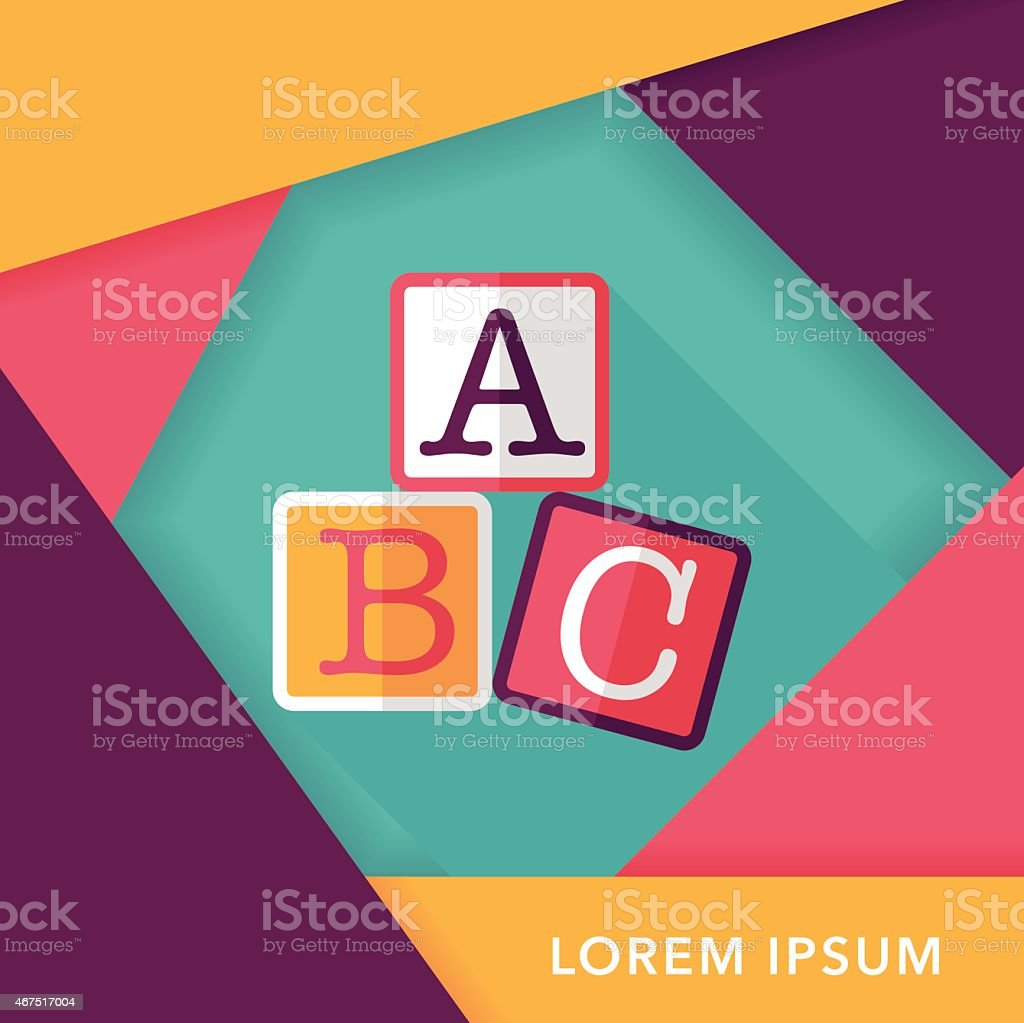 ABC blocks flat icon with long shadow,eps10 vector art illustration