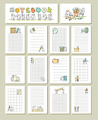 Collection of cute blocks for cards, notes, stickers, tags with people. Template for wrapping, notebooks, diary, school accessories. Doodle hand-drawn vector illustration with stationery for kids.