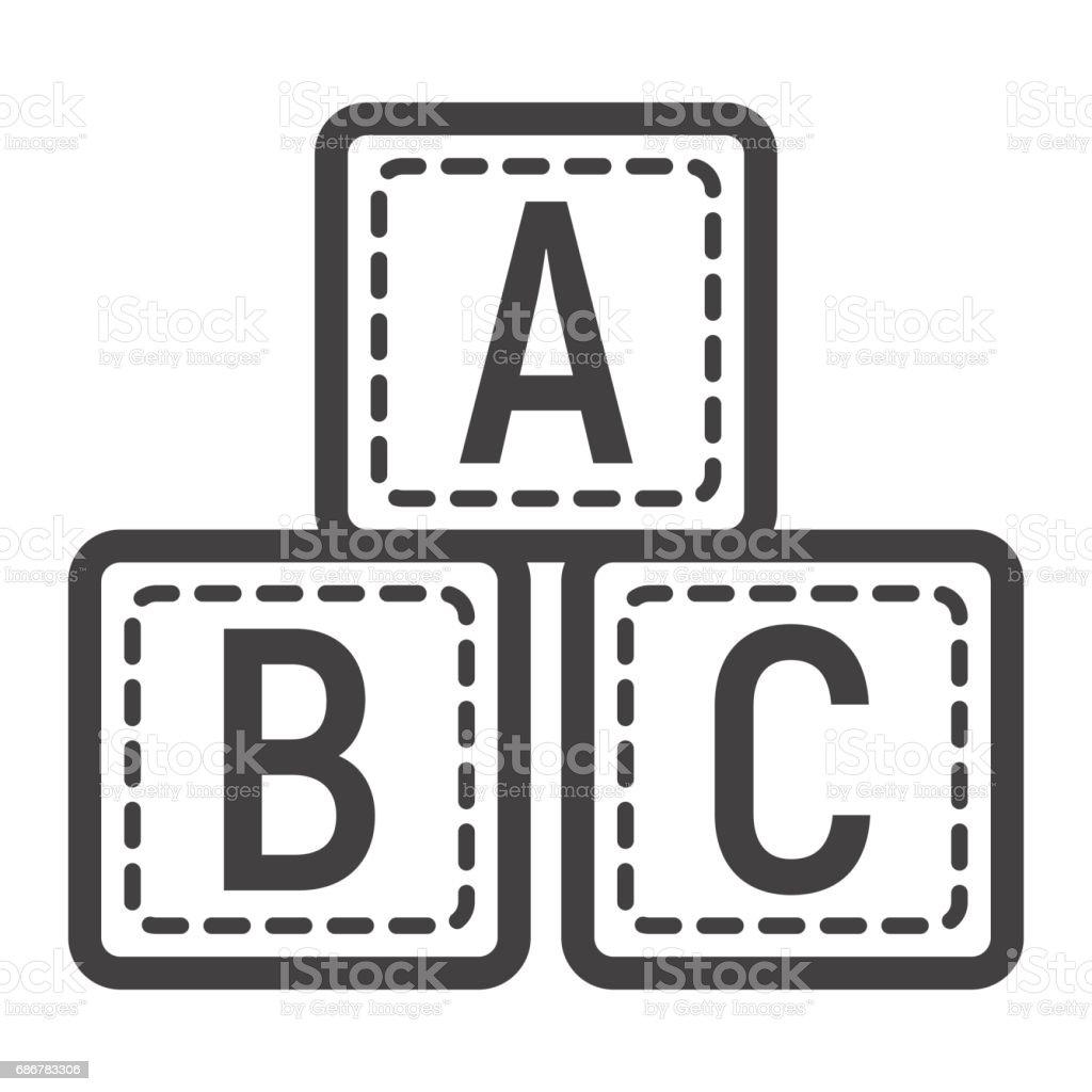 Bloques de ABC la línea icono, cubos del alfabeto y la educación, gráficos vectoriales, un patrón linear sobre un fondo blanco, eps 10. - ilustración de arte vectorial