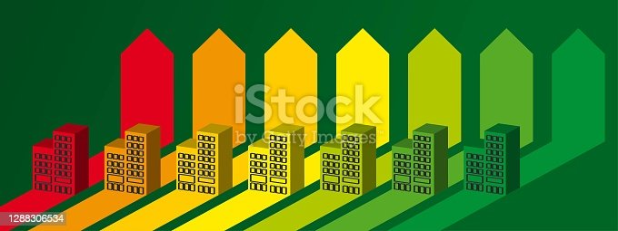 istock Blocks on the energy chart. Energy efficiency concept 1288306534