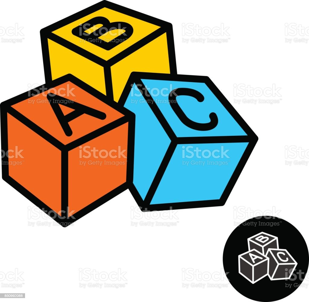 ABC blocks with letters icon vector art illustration