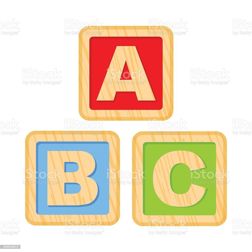 ABC cuadras. Cubos con una letra del alfabeto de madera, B,C cartas - ilustración de arte vectorial