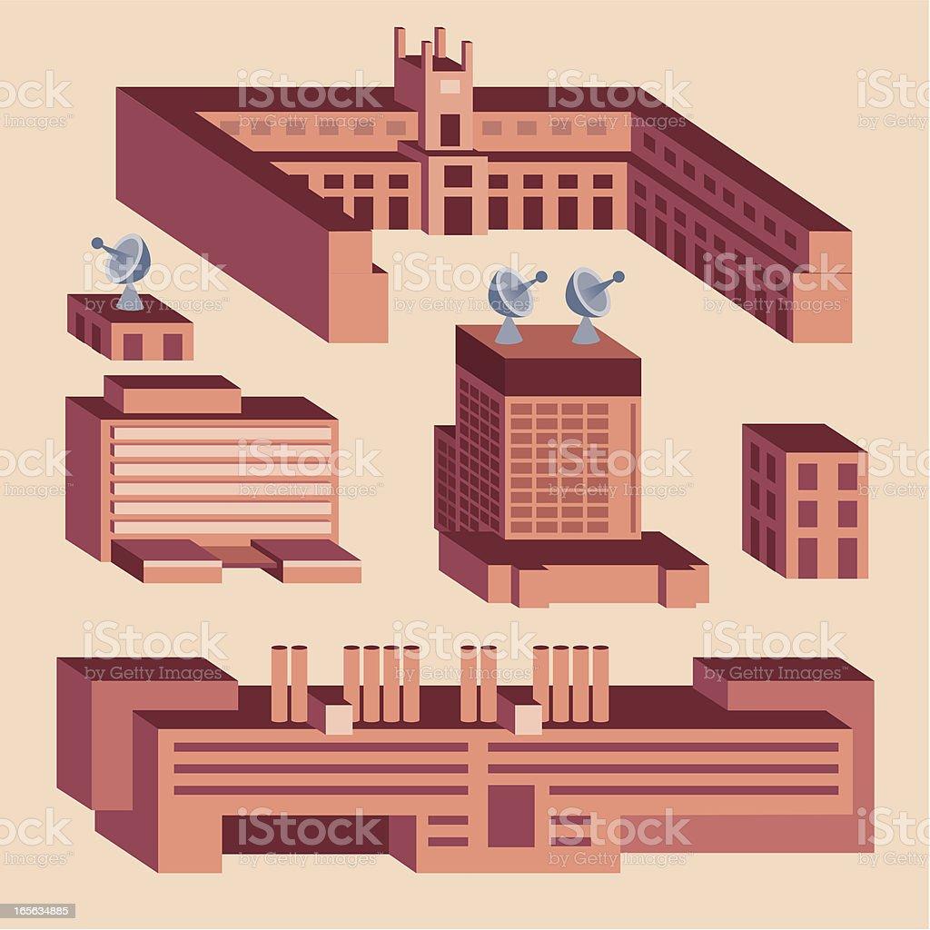 Blocky Brick Buildings vector art illustration
