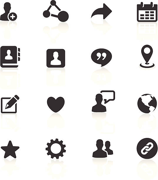 Blog and Social Media Icons vector art illustration