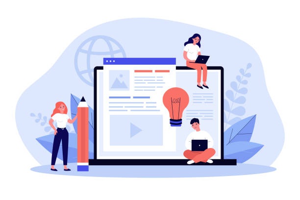 Blog authors writing articles Blog authors writing articles. Freelance writers with laptops creating internet content. Vector illustration for online education, people of creative job, seo marketing concept contented emotion stock illustrations