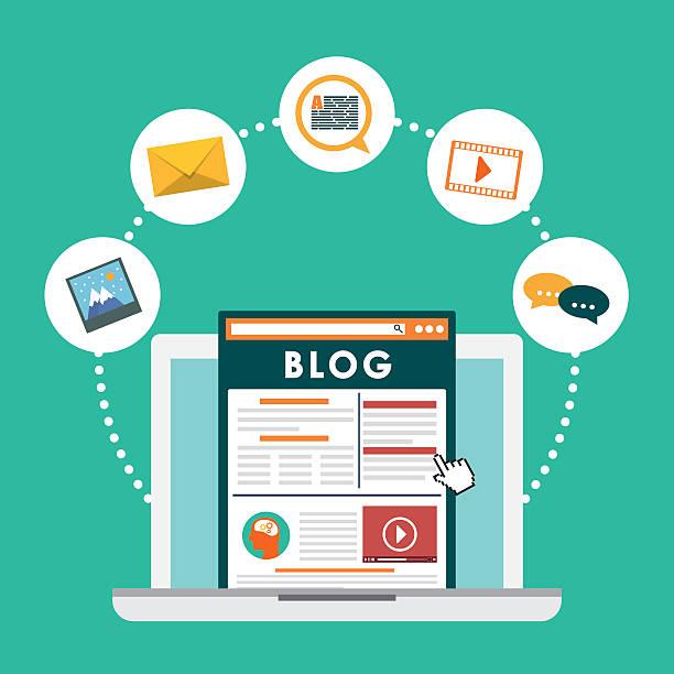 stockillustraties, clipart, cartoons en iconen met blog, blogging and blogglers theme - bloggen