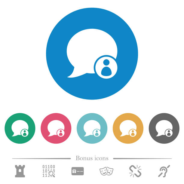 Blog comment sender flat round icons Blog comment sender flat white icons on round color backgrounds. 6 bonus icons included. contributor stock illustrations