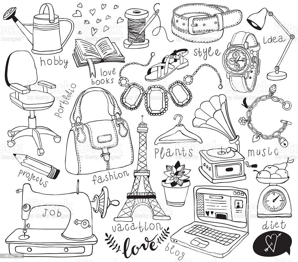 blog doodles set vector art illustration