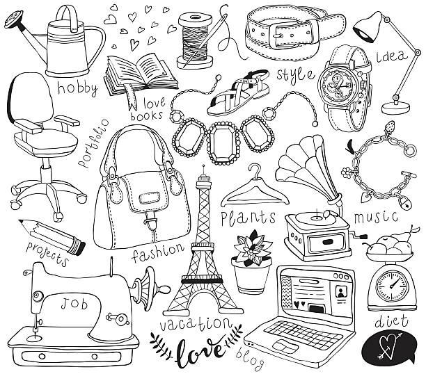 ilustrações, clipart, desenhos animados e ícones de criar blog rabiscos - moda parisiense