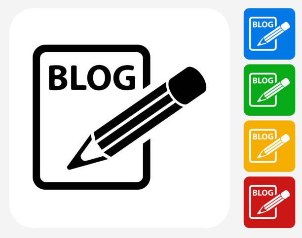 stockillustraties, clipart, cartoons en iconen met blog icon flat graphic design - bloggen