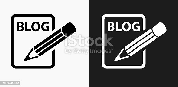 istock Blog Icon on Black and White Vector Backgrounds 697008548