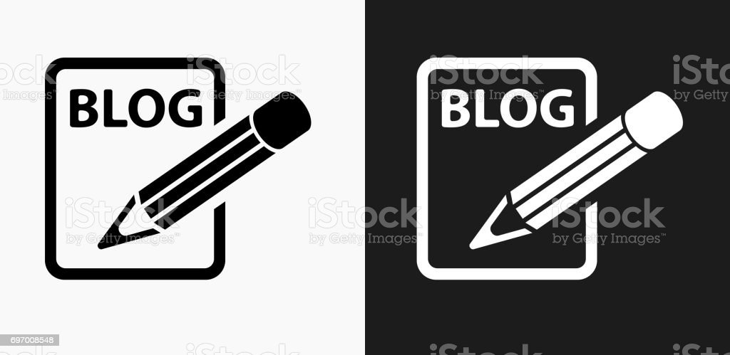 Blog Icon on Black and White Vector Backgrounds vector art illustration