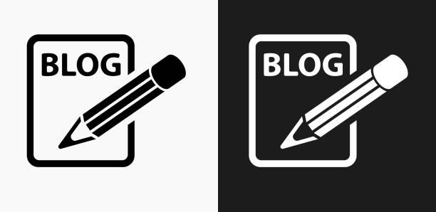 Icône de blog sur noir et blanc Vector Backgrounds - Illustration vectorielle
