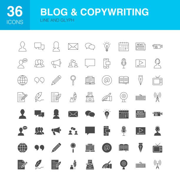 ilustraciones, imágenes clip art, dibujos animados e iconos de stock de iconos de la línea de blog web pictogramas - sólido