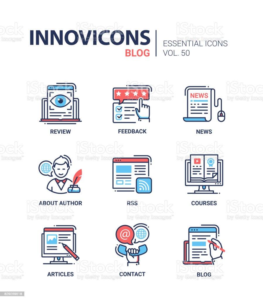 Blog - modern vector ligne design icônes set - Illustration vectorielle