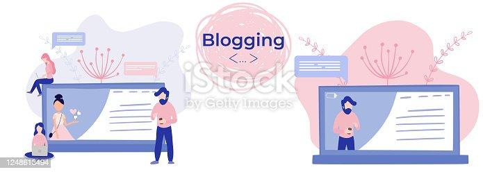 Blogger girl, freelancer woman. Video channel website, new content technology. Blogging miniature vector illustration.