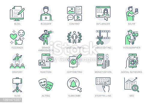 Blogger line icons. Vector illustration included icon as blog monetization, video editing, personal brand, copywriting outline pictogram of social media content. Green color, Editable Stroke.